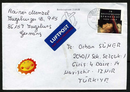 Germany (BRD) Bundestagswahl 27.09.09 ATM Label, 2009 Air Mail Cover To Turkey   Joint Issues   Rembrandt, Painters - Briefe U. Dokumente