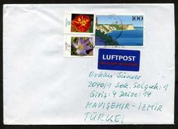 Germany (BRD) 2009 Postal Used Air Mail Cover To Izmir, Turkey   Islands   Lighthouses   Flowers - Briefe U. Dokumente