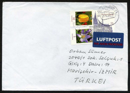 Germany (BRD) 2009 Postal Used Air Mail Cover To Izmir, Turkey   Churches, Cathedrals   Flowers - Briefe U. Dokumente