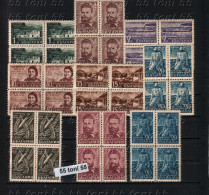 1948/1949 Centenary Of Birth Of Hristo Botev- Poet Mi-669/75+670a+673b 9v.- MNH Block Of Four Bulgaria / Bulgarie - Ungebraucht