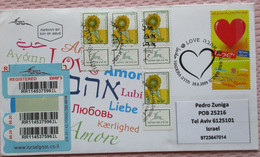FDC FIRST DAY LOVE STAMP SUNFLOWER COVER POST OFFICE HADERA CACHET MAIL STAMP LETTER ENVELOPE ISRAEL JUDAICA - Ohne Zuordnung