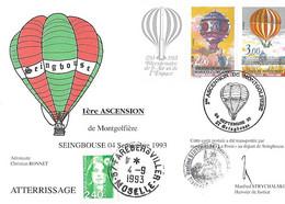 Carte Commémorative -1ère Ascension De Montgolfière 1783 1983 - SEINGBOUSE - Cad 04 Septembre 1993 Sur Yv 2261/62 + Logo - Briefe U. Dokumente