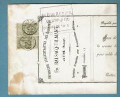 59 X 2  Obl Luttre + 8 Sur Document  Verso  Obl Ransart - 1893-1900 Fine Barbe