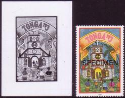 Tonga 1993 Christmas Proof + Specimen - Islanders Go To Church To Remember Jesus Birthday, Clock & Cross On Steeple - Cristianesimo