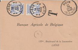 Belgique Carte Poix Taxée à Liège 1932 - Covers & Documents