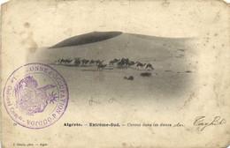 Algerie Extreme Sud Convoi Dans Les Dunes + Cachet Troupes D' Occupation D' OUDJA  RV - Otros