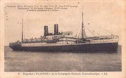 "10128 ""TRANSATLANTICO - PAQUEBOT FLANDRE - COMPAGNIE GENERALE TRANSATLANTIQUE"" CART.  ORIG. SPED 1936 - Dampfer"
