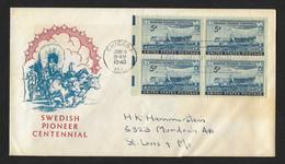 US FDC 1948 , Swedish Pioneer Centennial - 1941-1950