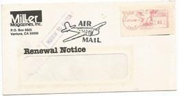 """AirmailCV Culver City CA 24sep85 X Italy Milano """"MISSENT TO MANILA"""" Postage Label C.44 - Varietà, Errori & Curiosità"""