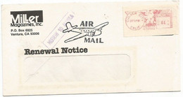 """AirmailCV Culver City CA 24sep85 X Italy Milano """"MISSENT TO MANILA"""" Postage Label C.44 - Postal History"""
