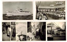 2x Foto AK + 5x Foto 1957 Bundesbahn Hochsee Fährschiff Deutschland Innen Und Außen, Kaltes Buffet, An Deck, Menschen - Dampfer