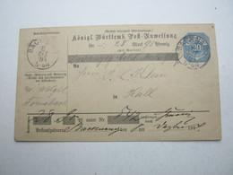 1894 , BACKNANG  Ganzsache  Postanweisung Mit Vielen Ankunftstempeln - Wuerttemberg
