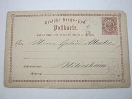 1874 , AERZEN   , Klarer     Stempel Auf  Karte - Hannover