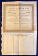 BANQUE D' ESCOMPTE DE PARIS ACTION NOMINATIVE 1892 (stock Share Bond Actions Obligations Bank France - Banca & Assicurazione