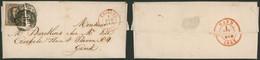Médaillon - N°6 Margé Sur LAC Obl P115 (double Frappe) çàd Thielt (Départ à Examiner, Petite Localité) > Gand - 1851-1857 Médaillons (6/8)