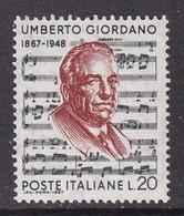 TIMBRE NEUF D'ITALIE - CENTENAIRE DE LA NAISSANCE DU COMPOSITEUR UMBERTO GIORDANO N° Y&T 984 - Musica
