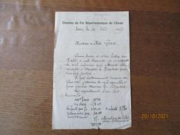 LAON LE 24 AOUT 1919 CHEMINS DE FER DEPARTEMENTAUX DE L'AISNE COURRIER A M.GRAVE GARE DE BRUYERES PUIS DU NOUVION - Manuscripts