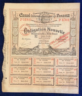 RARE 1887 ! COMPAGNIE UNIVERSELLE CANAL INTEROCEANIQUE DE PANAMA OBLIGATION 1000 FRANCS (stock Action Share France Stern - Trasporti