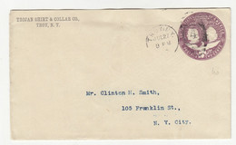 Trojan Shirt & Collar Co., Troy Preprinted Postal Stationery Letter Cover Posted 189? B211015 - ...-1900