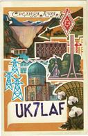 QSL Card Amateur Radio Station 1976 USSR CCCP SOVIET Kustanai Qostanay Kazakhstan PROPAGANDA Illustrator Russia - Radio Amatoriale