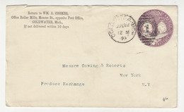 WM. A. Coombs, Coldwater Preprinted Postal Stationery Letter Cover Posted 1893 B211015 - ...-1900