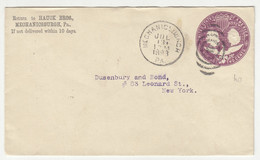 Hauck Bros., Mechanicsburgh Preprinted Postal Stationery Letter Cover Posted 1893 B211015 - ...-1900