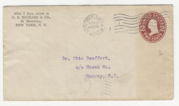 C.B. Richard & Co., NY Preprinted Postal Stationery Letter Cover Posted 1907 B211015 - 1901-20