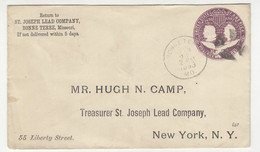 St. Joseph Lead Company, Bonne Terre Preprinted Postal Stationery Letter Cover Posted 1893 B211015 - ...-1900