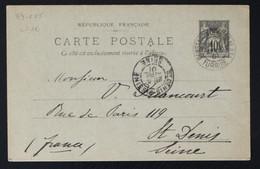 Entier (89-CP5) 10c. Sage Oblitéré Constantinople Galata Pour St Denis (Seine) - 1901 - Other