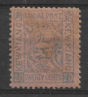 1894 CHINA -KEWKIANG LOCAL POST 20 CENTS Blue On Rose- UNUSED H. CHAN LK9 $22 - Unused Stamps