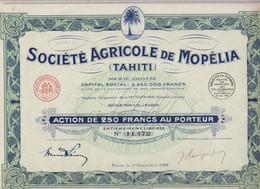 SOCIETE AGRICOLE DE MOPELIA (TAHITI) ACTION DE 250 FRS AU PORTEUR N° 11 472 - Agricoltura