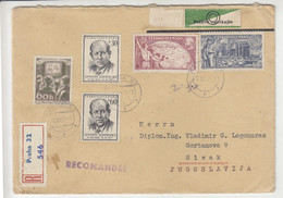 Czechoslovakia Multifranked Letter Cover Posted Registered 1957 To Yugoslavia - Poštovni Urad Praha Stickers B211015 - Covers & Documents
