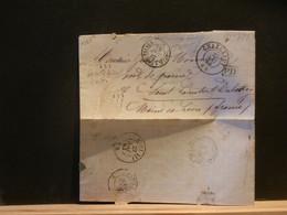 95/778 LETTRE CHARLEROY POUR LA FRANCE TIMBRE MANQUANT AMB. BELG. A ERQUELLINES - 1865-1866 Profil Gauche