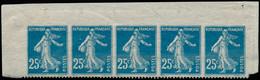 ** FRANCE - Poste - 140e, Bande De 5 Bdf, Dentelé Sur Un Coté, Signé Brun (un Ex. *): 25c. Semeuse Bleu (Spink) - Unused Stamps