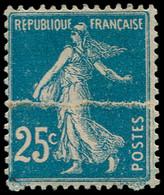(*) FRANCE - Poste - 140h, Type IIIA, Impression Sur Raccord: 25c. Semeuse Bleu - Unused Stamps
