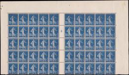 """** FRANCE - Poste - 140t, Bloc De 50, Papier X, Millésime """"5"""" (Bdf *): 25c. Semeuse Bleu - Unused Stamps"""