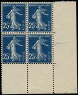 ** FRANCE - Poste - 140t, Bloc De 4, Cdf Papier X: 25c. Semeuse Bleu Foncé - Unused Stamps