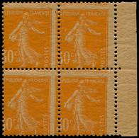 ** FRANCE - Poste - 141c, Papier GC, Bloc De 4, Piquage à Cheval: 30c. Semeuse Orange (Spink) - Unused Stamps