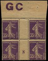 """** FRANCE - Poste - 142, Bloc De 4, Millésime """"8"""", Manchette GC Chamois: 35c. Semeuse Violet - Unused Stamps"""