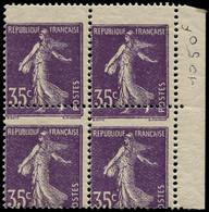 ** FRANCE - Poste - 142, Bloc De 4, Cdf, Piquage Horizontal Très Déplacé (dans Les Chiffres): 35c. Semeuse Violet (Spink - Unused Stamps