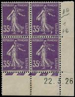 * FRANCE - Poste - 142b, Type II, Bloc De 4, Cd 22/3/26 (2 Exemplaires **): 35c. Semeuse Violet - Unused Stamps