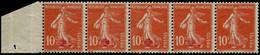 ** FRANCE - Poste - 146, Bande De 5, Un Ex. Sans Surcharge Par Manque D'encrage, Signé Calves + Certificat Photo Behr (u - Unused Stamps
