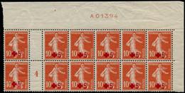 """** FRANCE - Poste - 146, Bloc De 12, Haut De Feuille Avec Essai De Numérotation """"A01394"""": 10+5c. Semeuse Croix-Rouge - Unused Stamps"""