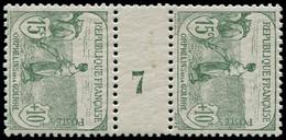 "* FRANCE - Poste - 150, Paire Millésime ""7"": 15c. + 10c. Orphelins - Unused Stamps"