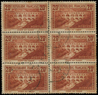 O FRANCE - Poste - 262f, Bloc De 6, 5 Types IIB, Un Exemplaire Type IIA: 20f. Pont Du Gard (oxydation) - Used Stamps