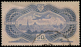 O FRANCE - Poste Aérienne - 15, Bel Exemplaire: 50f. Burelé - 1927-1959 Afgestempeld