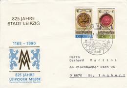 D FDC 3316 - 17  1165-1990 825 Jahre Stadt Leibzig - 825 Jahre Leipziger Messe, Berlin 1085 - FDC: Briefe