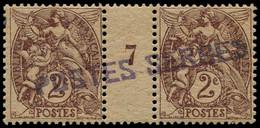 """** FRANCE - Postes Serbes - 2, Paire Millésime """"7"""": 2c. Blanc - Guerres"""