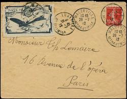 LET FRANCE - 1° Vols - 28/7/12, Nancy Lunéville, Enveloppe Yvert 138 + Semi-officiel 25c. Bleu (Saul 1b) - Eerste Vluchten