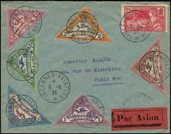 """LET FRANCE - 1° Vols - 9/6/24 """"Vincennes Aviation"""", Enveloppe, Série Complète 6 Semi-officielles - Eerste Vluchten"""